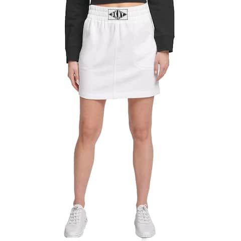 DKNY Women's Sport Logo-Patch Skirt White Size Extra Large - Black - X-Large