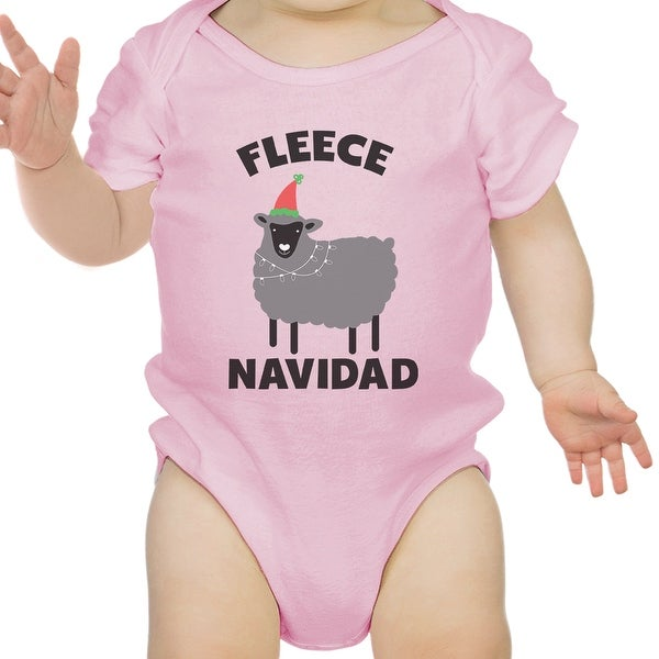 Fleece Navidad First X-Mas Infant Bodysuit Gift Pink For Baby Girl