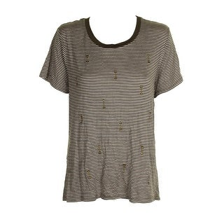 Carbon Copy Olive Beige Short-Sleeve Striped Arrow-Embroidered T-Shirt XL