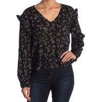 Abound Women's Small Floral Print Ruffle Trim Blouse