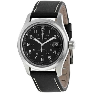 Link to Hamilton Men's H70455863 'Khaki Field' Automatic Black Leather Watch Similar Items in Men's Watches