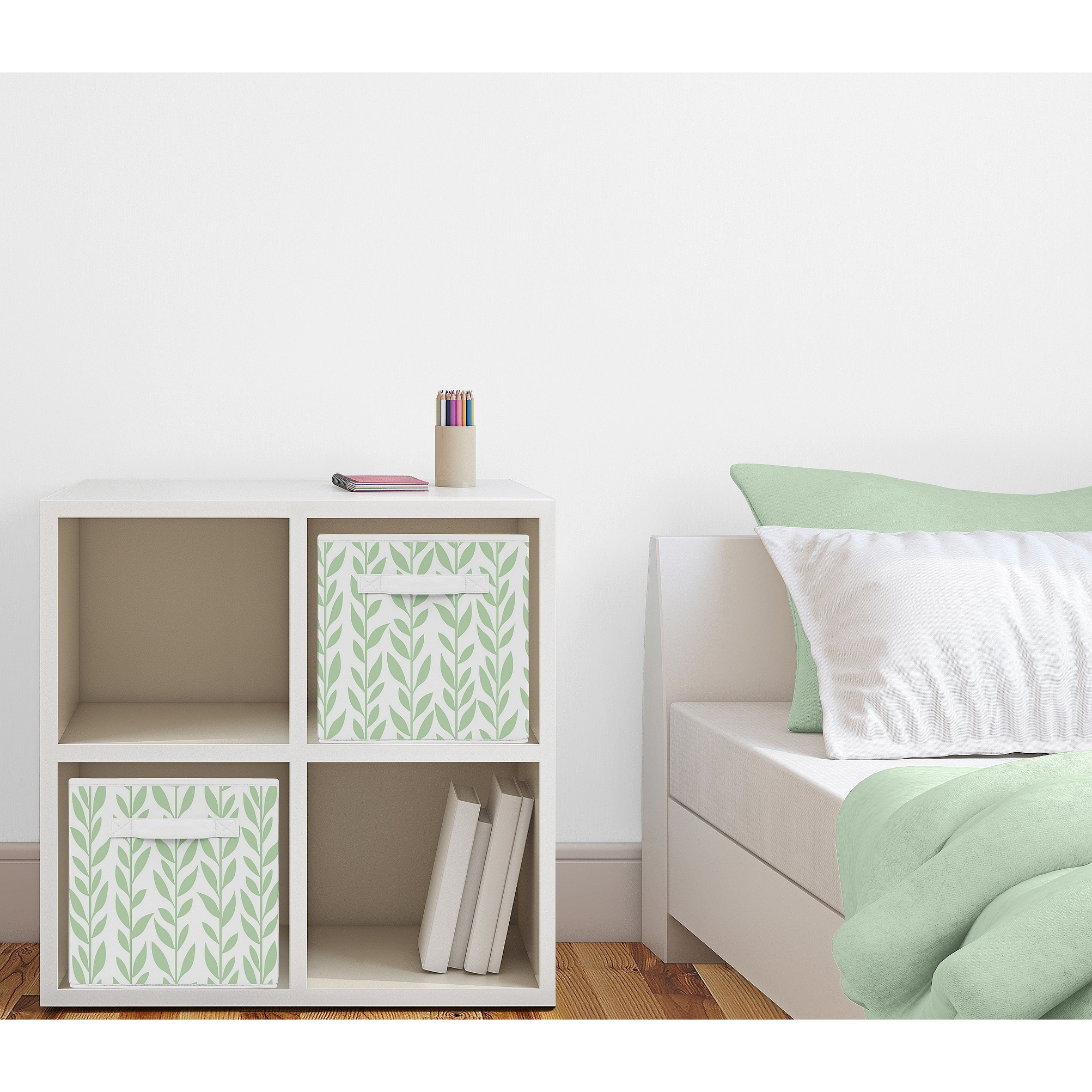 Green And White Floral Leaf Foldable Fabric Storage Bins For The Boho Farmhouse Sunflower Collection Overstock 31628723