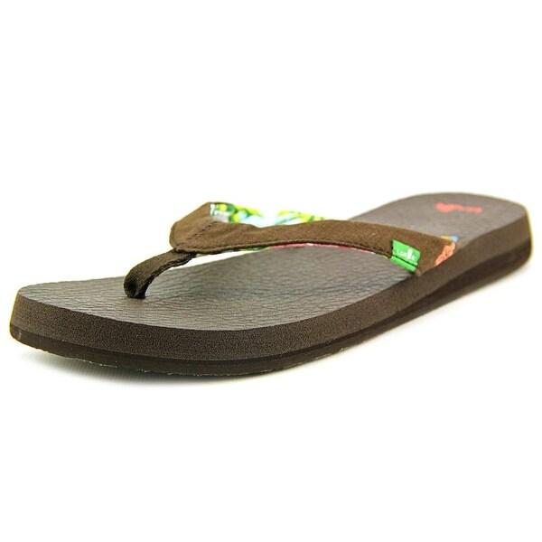 Sanuk Yoga Paradise Women Open Toe Canvas Brown Flip Flop Sandal
