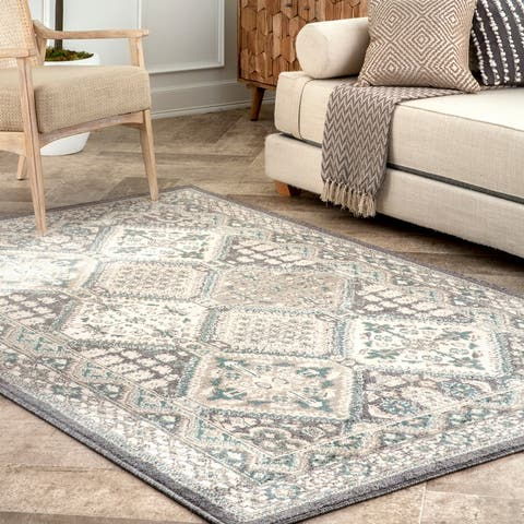 nuLOOM Beige Transitional Georgia Floral Geo Border Area Rug