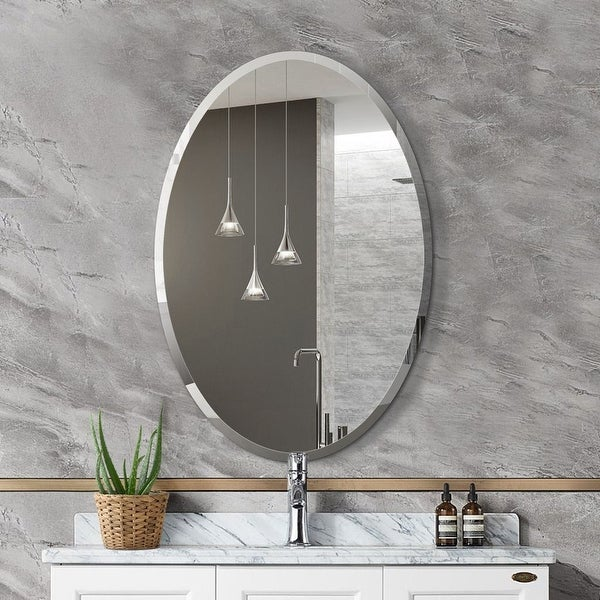 Mirror Trend Oval Frameless Beveled Wall Mirror - 22*32*0.71. Opens flyout.