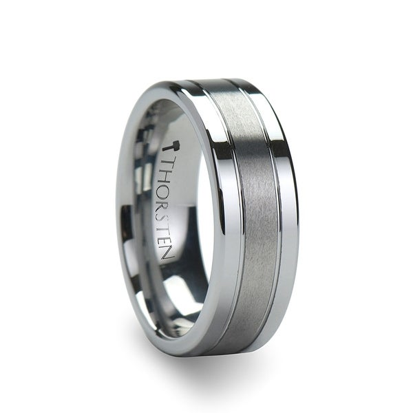 CHRONOS Flat with Offset Grooves Polished Edges and Satin Center Tungsten Band 6 & 8