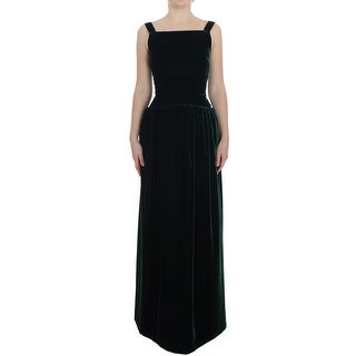 Dolce & Gabbana Dark Green Velvet Full Length Gown Dress - it40-s