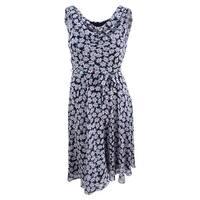 Msk Women's Cowl-Neck Floral-Print Midi Dress (12, Black Multi) - Black Multi - 12