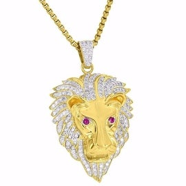 Lion Face Pendant 18K Yellow Gold Tone Free Stainless Steel Box Chain Simulated Diamonds Classy