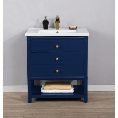 Copper Grove Cabimas 30-inch Blue Single-sink Vanity