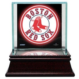 Boston Red Sox Glass Single Baseball Case with Team Logo Background