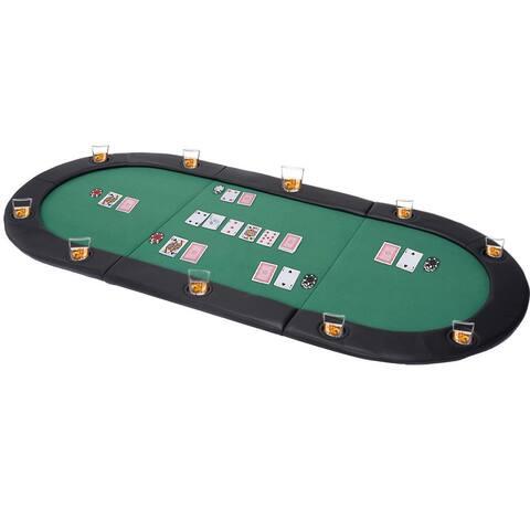 Costway 79''x36'' Portable Tri-Fold Oval Padded Poker Table Top - 79''x36''(L x W)