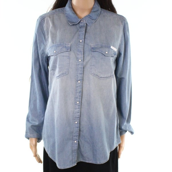 19b47d5e Shop Calvin Klein Blue Womens Size Large L Chambray Button Down Blouse - Free  Shipping On Orders Over $45 - Overstock - 27019404