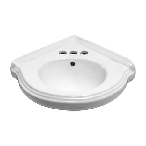 Small Wall Mount Corner Bathroom Sink White Gloss China Portsmouth with Bracket
