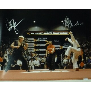Ralph Macchio Willaim Zabka Autographed Karate Kid 16x20 Photo PSADNA