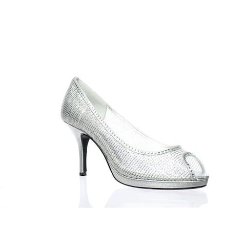 Caparros Womens Future Silver Open Toe Heels Size 7.5