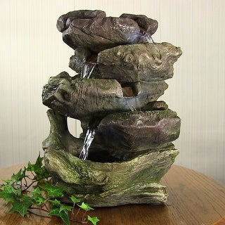 Sunnydaze 5 Step Rock Falls Tabletop Fountain with LED Lights 14 Inch Tall