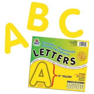 Pacon Self-Adhesive Reusable Letter, 4 in, Yellow, Pack of 78