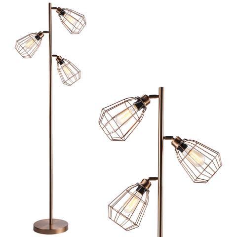 65 Inch 3-Light Industrial Track Tree Floor Lamp, Antique Red Copper - 1PACK