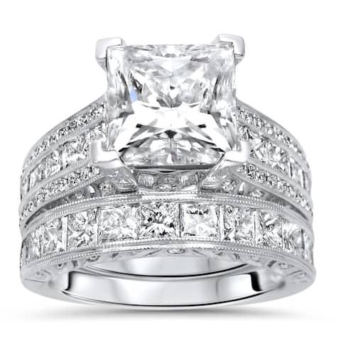 18k White Gold 2.50ct Princess Cut Moissanite and 2 & 1/3ct Diamond Engagement Ring Bridal Set
