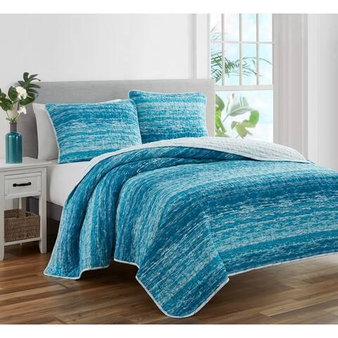 Ocean Stripe Coastal Blue 3 PC Reversible Quilt Bedding Set