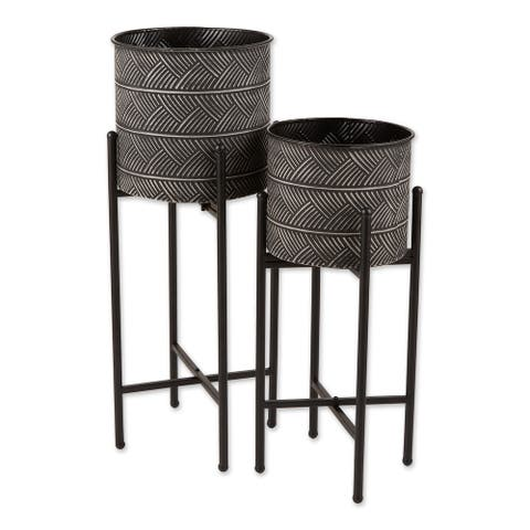 Zingz & Thingz Deco Waves Bucket Plant Stand Set of 2