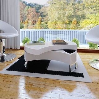 vidaXL Coffee Table High Gloss White Shape-Adjustable Storage Side Furniture