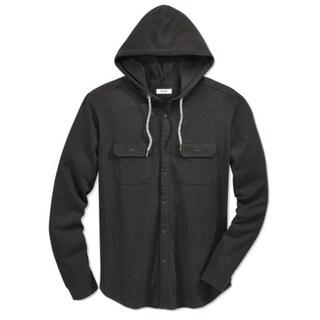 Univibe NEW Deep Black Mens Size Medium M Button Down Hooded Sweater