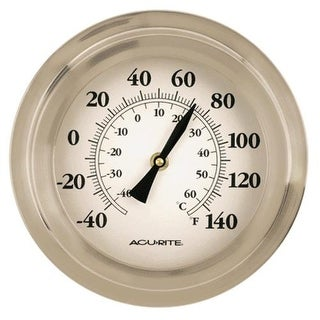 "Acu-Rite 2320 Porthole Thermometer, 9"", Brushed Nickel"