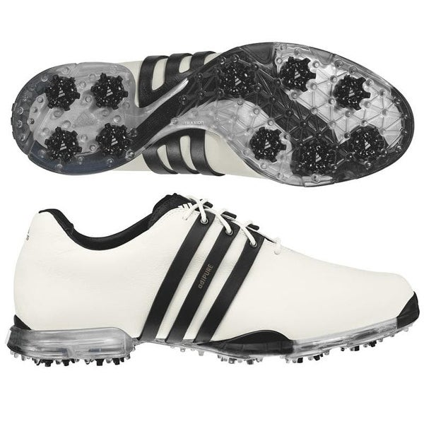 competitive price 3d410 031ba Shop Adidas Men s Adipure White Black Golf Shoes 816220 816373 - Free  Shipping Today - Overstock - 19571039