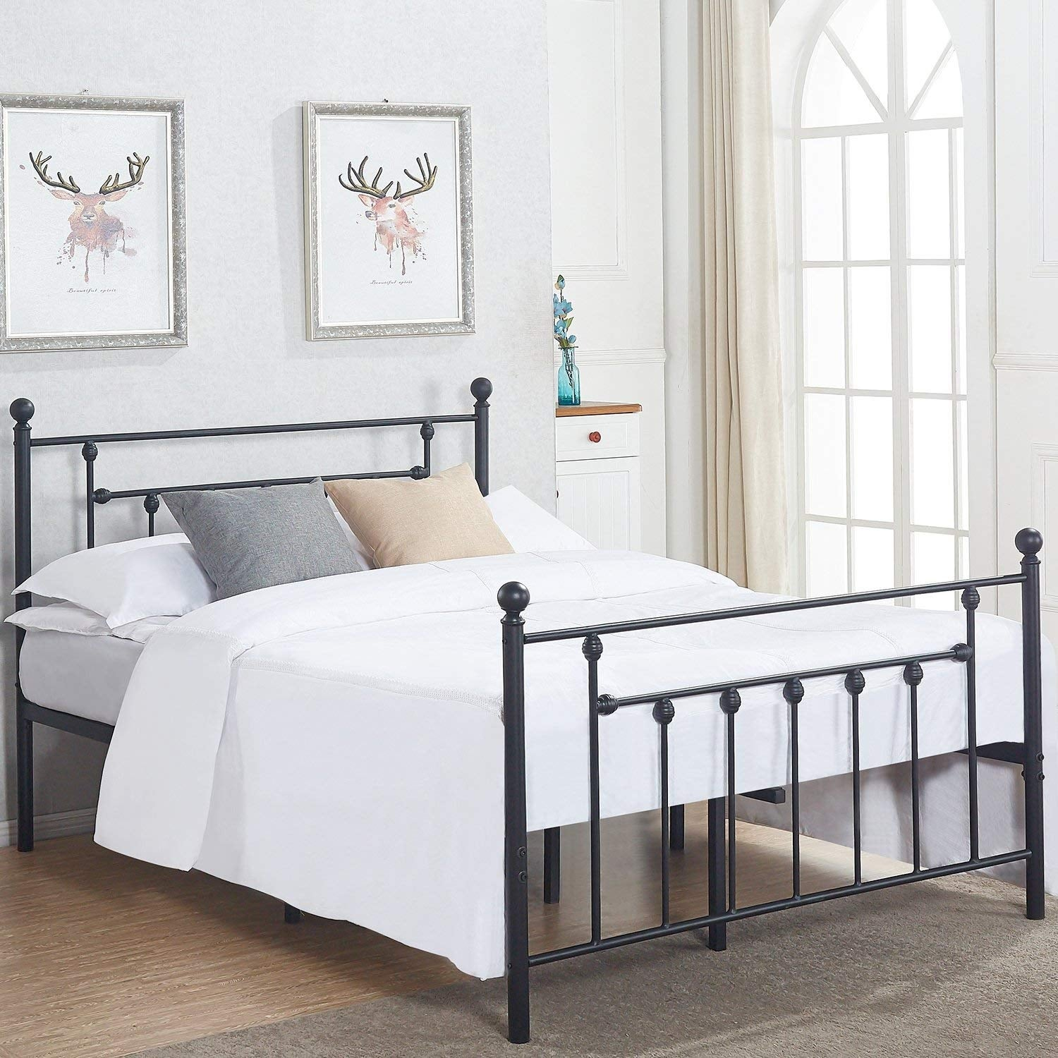 Picture of: Vecelo Bed Frames Victorian Metal Platform Mattress Foundation Twin Full Queen Size Overstock 19665443