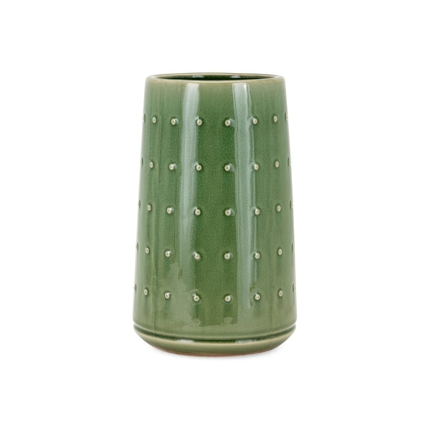 """11.75"""" Green Glossy Finished Cactus Designed Cylindrical Small Vase - N/A"""