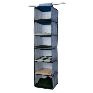 Simplify 6-Shelf Hanging Closet Organizer, Denim-Print, Colors May Vary, 12x12x47 Inches