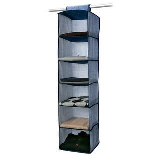 Simplify 6 Shelf Hanging Closet Organizer, Denim Print, Colors May Vary,