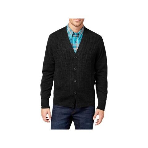 Weatherproof Vintage Mens Cardigan Sweater Textured Front-Button