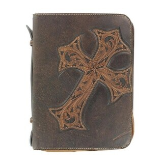 Nocona Bible Cover Case Stitched Cross Marble Brown 0