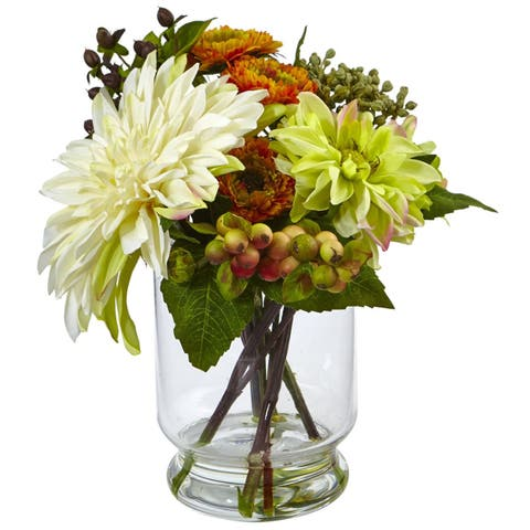 Nearly Natural Home Decor Mixed Dahlia and Mum with Glass Vase
