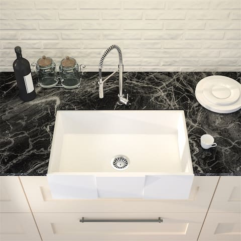 36-INCH Rectangle Farmhouse Apron Front Kitchen Sink w/ Silicone Grid