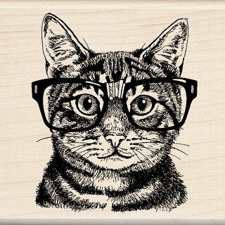 "Inkadinkado Mounted Rubber Stamp 3""X3""-Nerdy Cat - nerdy cat"