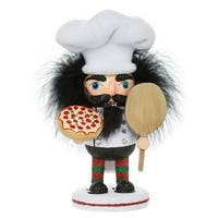 "8"" Vibrantly Colored Glittering Finished Pizza Guy Nutcracker Christmas Decoration - WHITE"