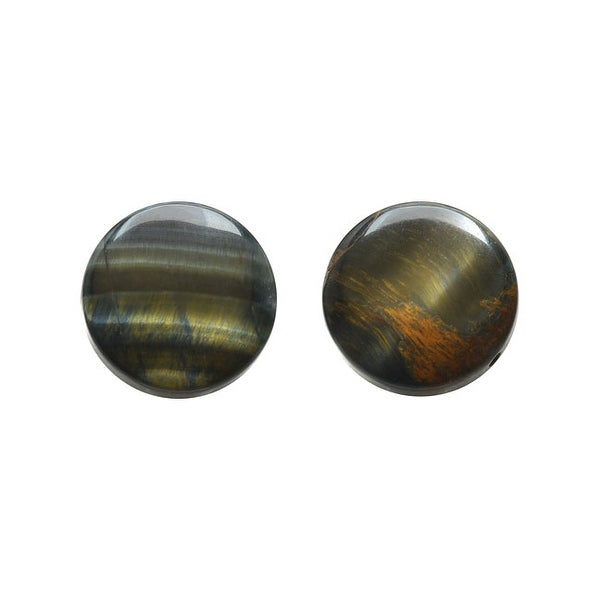 Blue Tiger Eye Gemstone Beads, Smooth Coins 18mm, 4 Pieces, Golden Brown