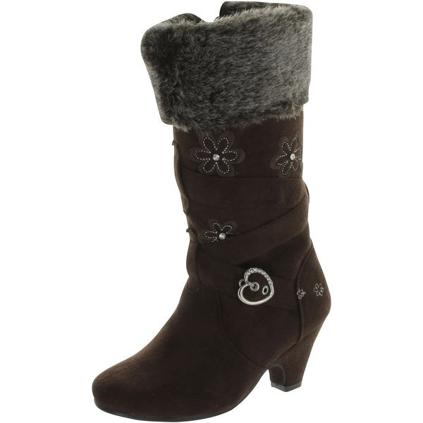 Lucky Top Girl's Low Heel Dress Boots With Embroidered Flowers Accent And Fur Trim - Brown