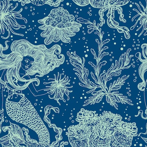 Marine Plants And Mermaids Removable Wallpaper - 24'' inch x 10'ft