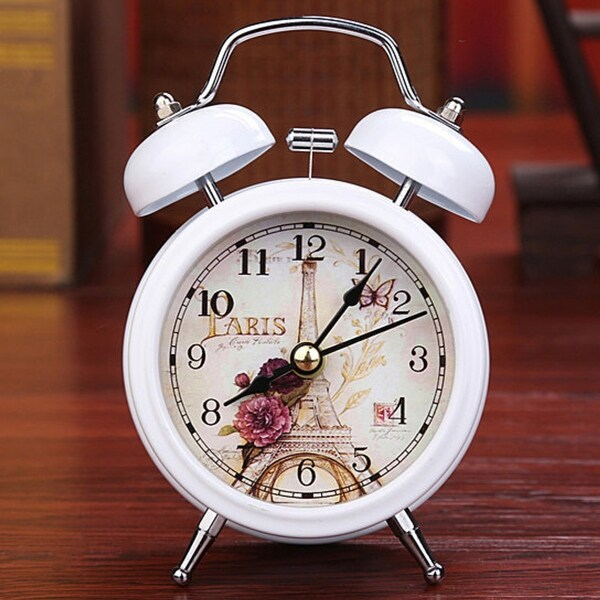 Retro Alarm Clock Round Number Bell Desk Table Office Home Decor. Opens flyout.
