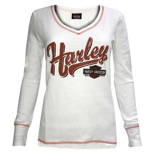 Harley-Davidson Women's Breaking Fate V-Neck Thermal Long Sleeve Tee 5K0F-HF6S
