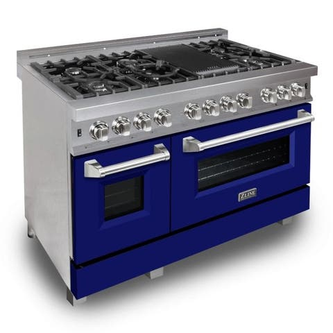 "ZLINE 48"" Professional Dual Fuel Range in DuraSnow® - Blue Matte Door"