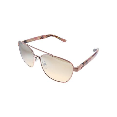 Tory Burch TY 6069 32738Z 57mm Womens Pink Frame Brown Mirror Lens Sunglasses