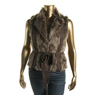 XOXO Womens Juniors Faux Fur Open Front Sweater Vest