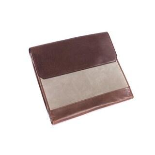 Brunello Cucinelli Men Dark Brown Leather Document Holder Laptop Bag
