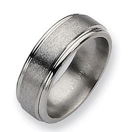 Chisel Brushed and Polished Grooved Titanium Ring (8.0 mm) (Option: 15.5)|https://ak1.ostkcdn.com/images/products/is/images/direct/8647fdbd892f88781863c48c554a5e9a2e956fd9/Chisel-Brushed-and-Polished-Grooved-Titanium-Ring-%288.0-mm%29.jpg?impolicy=medium